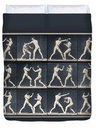 Time Lapse Motion Study Men Boxing Duvet Cover