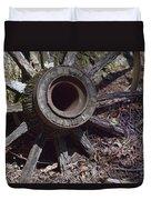 Time Worn Antique Wagon Wheel Duvet Cover