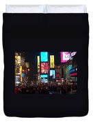 Times Square Crowds Duvet Cover