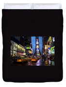 Times Square In The Rain Duvet Cover by Garry Gay