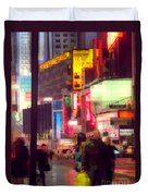 Times Square - Man Walking With Yellow Bag Duvet Cover