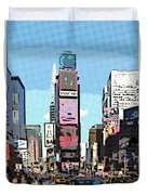 Times Square Nyc Cartoon-style Duvet Cover