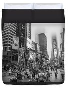 Times Square With Fog Duvet Cover
