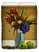 Tin Bouquet And Green Apples Duvet Cover