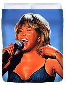 Tina Turner Queen Of Rock Duvet Cover by Paul Meijering