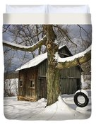 Tire Swing Shed Duvet Cover by Timothy Flanigan