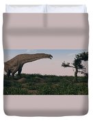 Titanosaurus Standing Grazing In Swamp Duvet Cover