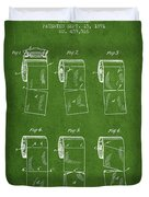 Toilet Paper Roll Patent From 1891 - Green Duvet Cover