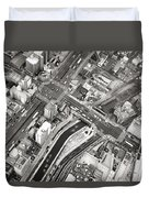 Tokyo Intersection Black And White Duvet Cover