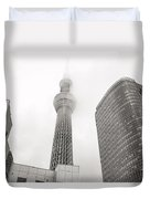 Tokyo Skytree In Clouds Duvet Cover