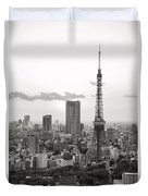 Tokyo Tower And The Zozo-ji Temple Duvet Cover