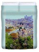 Toledo Spain In Blue Duvet Cover
