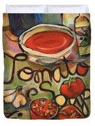 Tomato Soup Recipe Duvet Cover by Jen Norton