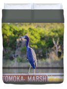 Tomoka Marsh Little Blue Heron Duvet Cover