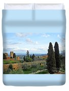 Top Of A Hill Town Duvet Cover