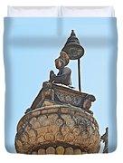Top Of Stone Pillar In Bhaktapur Durbar Square In Bhaktapur-nepal Duvet Cover