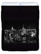 Top Of The Rock In Black And White Duvet Cover