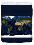 Topography Map Of The World Duvet Cover