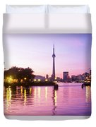 Toronto Skyline At Sunset, Toronto Duvet Cover