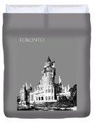 Toronto Skyline Casa Loma - Pewter Duvet Cover