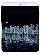 Toronto Skyline In Blue Duvet Cover