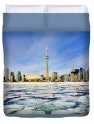 Toronto Skyline In Winter Duvet Cover