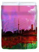 Toronto Watercolor Skyline Duvet Cover