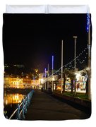 Torquay Victoria Parade At Night Duvet Cover