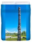 Totem Pole In Gitwangak-bc Duvet Cover