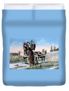 Tourist Feeding Bear Yellowstone Np Duvet Cover