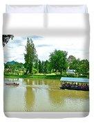 Tourist Raft Being Towed On River Kwai In Kanchanaburi-thailand Duvet Cover
