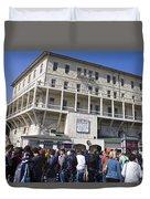 Tourists At Alcatraz Island Duvet Cover