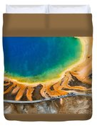 Tourists At Grand Prismatic Duvet Cover