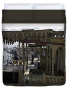 Tourists At The Front Section Of Houseboats Lined Up Along Dal Lake Duvet Cover