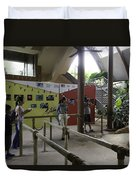 Tourists In A Queue At One Of The Exhibits Inside The Jurong Bird Park Duvet Cover