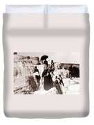Tourists On Mammoth Terraces Duvet Cover
