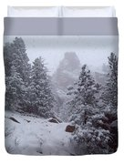 Towards Top Of Bear Peak Mountain During Intense Snow Storm - North Side Duvet Cover