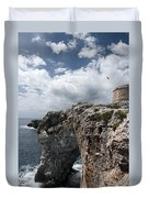 Stunning Tower Over The Cliffs Of Alcafar In Minorca Island - Tower And Sea Duvet Cover