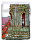Tower At Temple Of The Dawn-wat Arun In Bangkok-thailand Duvet Cover