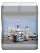 Tower Bridge And Battleship 5863 Duvet Cover