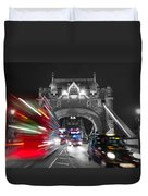 Tower Bridge And Traffic Color Mix Duvet Cover