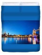 Tower Bridge In London Uk At Night Duvet Cover