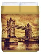 Tower Bridge In London Uk Vintage Style Duvet Cover
