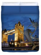 Tower Bridge The Dolphin And The Girl Duvet Cover