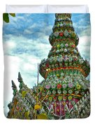 Tower Closeup Of Buddhist Temple At Grand Palace Of Thailand  Duvet Cover