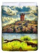 Tower On The Bluff Duvet Cover