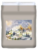 Town By The Rhine Falls In Switzerland Duvet Cover