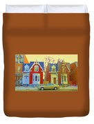 Town Houses In Winter Suburban Side Street South West Montreal City Scene Pointe St Charles Cspandau Duvet Cover