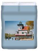 Town Of Edenton Roanoke River Lighthouse In Nc Duvet Cover