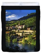 Town Of Sisteron In Provence Duvet Cover